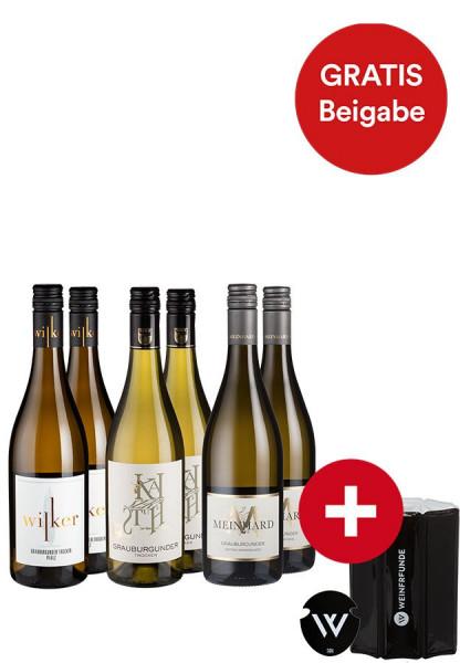 6er-Paket Genialer Grauburgunder + GRATIS Augießfolie und Weinpumpe - Weinpakete