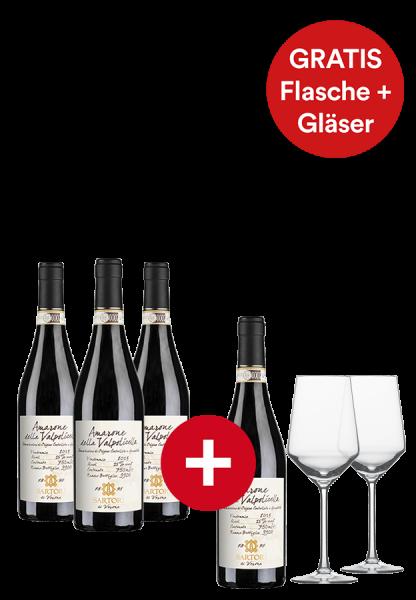 3+1-Paket Amarone della Valpolicella Sartori inklusive 2 Schott Zwiesel Rotweingläser - Weinpakete