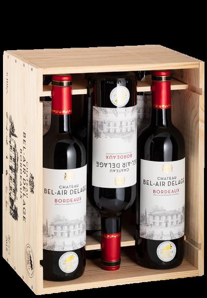 6er-Holzkiste Bordeaux Rouge